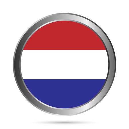 Netherland flag button on a white . The colors of the original. Vector illustration. Vector
