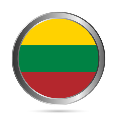 lithuania flag: Lithuania flag button on a white . Vector illustration.