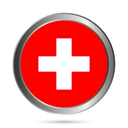 swiss flag: Swiss flag button on a white . Vector illustration. Illustration