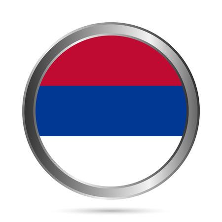 serbien: Serbien Flagge Taste auf einem wei�en Hintergrund. Vektor-Illustration.