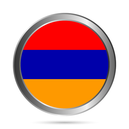 Armenia flag button on a white background. The colors of the original. Vector illustration. Stock Vector - 24146195