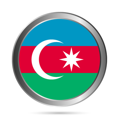Azerbaijan flag button on a white background. The colors of the original. Vector illustration. Vector