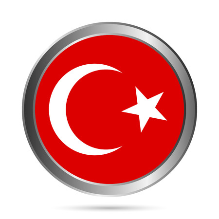 Turkey flag button on a white background. Vector illustration. Vector
