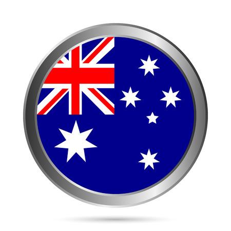 Australia flag button on a white . Vector illustration. Vector