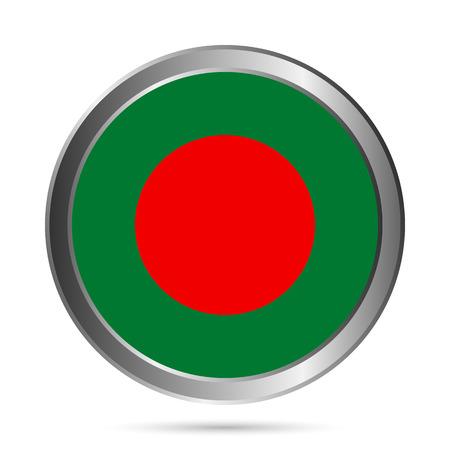 Bangladesh flag button on a white . Vector illustration. Vector
