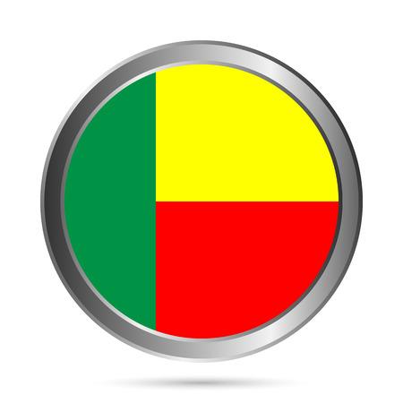 Benin flag button on a white . Vector illustration.