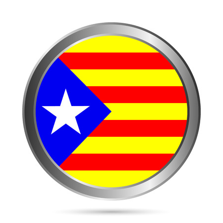 Catalonia flag button on a white background. Vector illustration. Vector