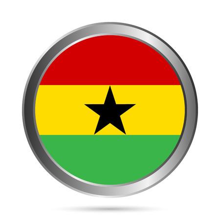 Ghana flag button on a white background. Vector illustration. Vector