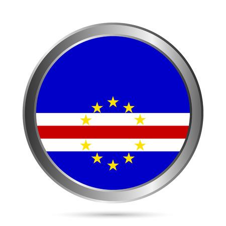 cape verde: Cape Verde flag button on a white background. Vector illustration. Illustration
