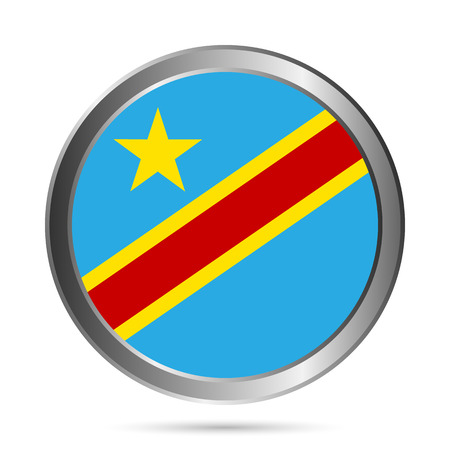 zaire: Democratic Republic of the Congo flag button on a white background. Vector illustration.