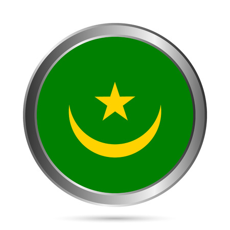 mauritania: Mauritania flag button on a white background. Vector illustration. Illustration
