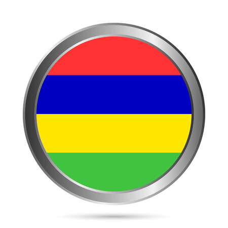 mauritius: Mauritius flag button on a white background. Vector illustration.