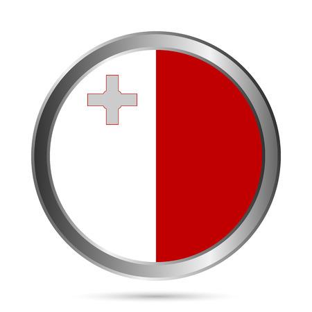 malta: Malta vlag knop op een witte achtergrond. Vector illustratie. Stock Illustratie
