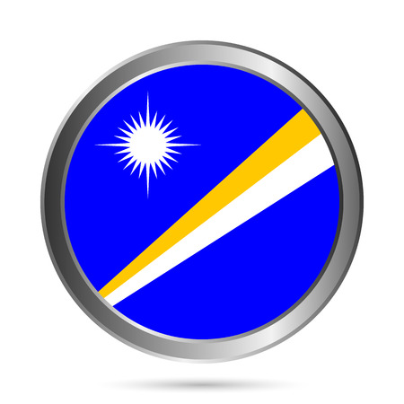 marshall: Marshall Islands flag button on a white background. Vector illustration.