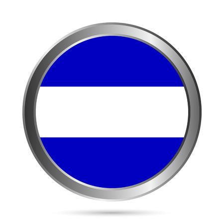 bue: El Salvador flag button on a white background. Vector illustration. Illustration