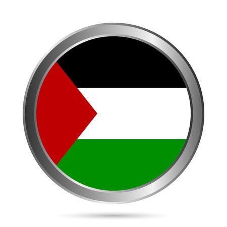 Palestine flag button on a white background. Vector illustration. Illustration