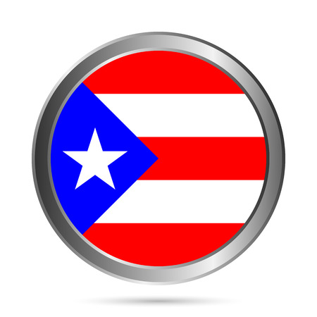 antilles: Puerto Rico flag button on a white background. Vector illustration. Illustration