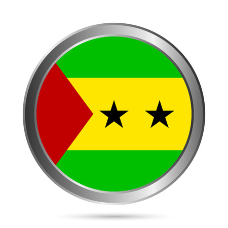 tome: Sao Tome and Principe flag button on a white background. Vector illustration. Illustration
