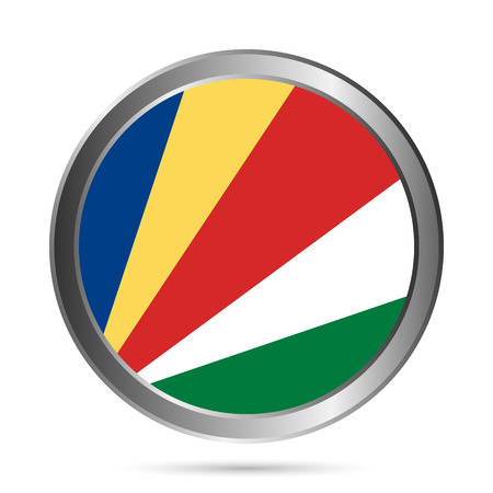seychelles: Seychelles flag button on a white background. The colors of the original. Vector illustration. Illustration