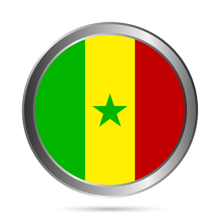 Senegal flag button on a white . Vector illustration. Illustration