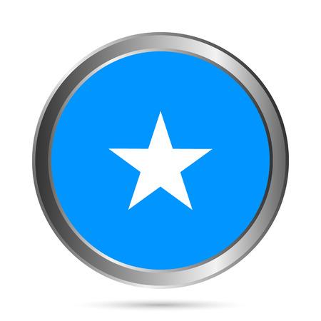 Somalia flag button on a white . Vector illustration. Vector