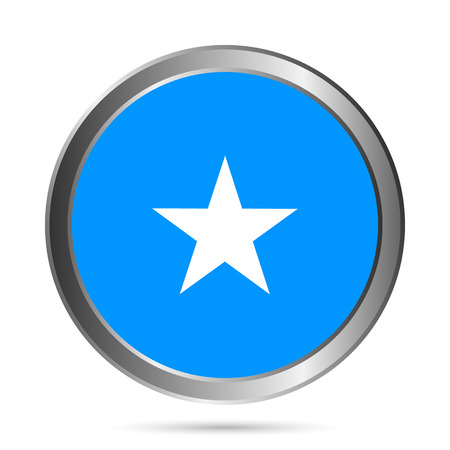 Somalia flag button on a white . Vector illustration.