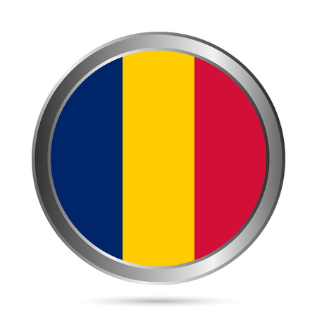 Chad flag button on a white . The colors of original. Vector illustration.