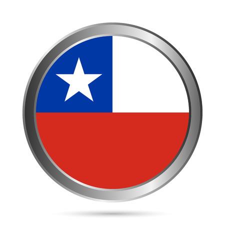bandera de chile: Bot�n del indicador de Chile en un blanco. Los colores de las originales. Ilustraci�n del vector. Vectores