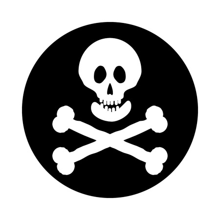 deathly: Jolly Roger flag button on a white background. Vector illustration. Illustration