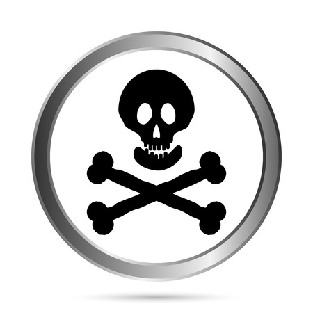 Jolly Roger flag button on a white background. Vector illustration. Vector
