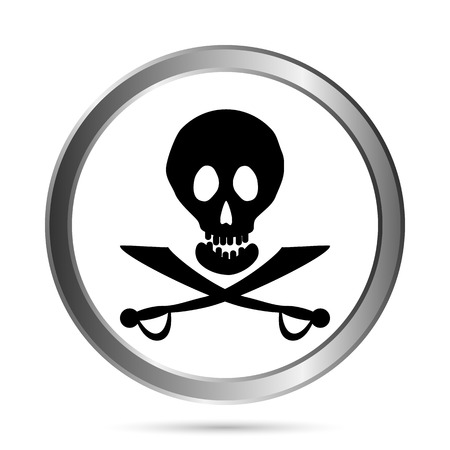 deathly: Jolly Roger flag button on a white background  Vector illustration