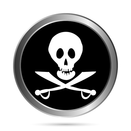 Jolly Roger flag button on a white background  Vector illustration  Vector