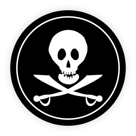 Jolly Roger flag button on a white background  Vector illustration