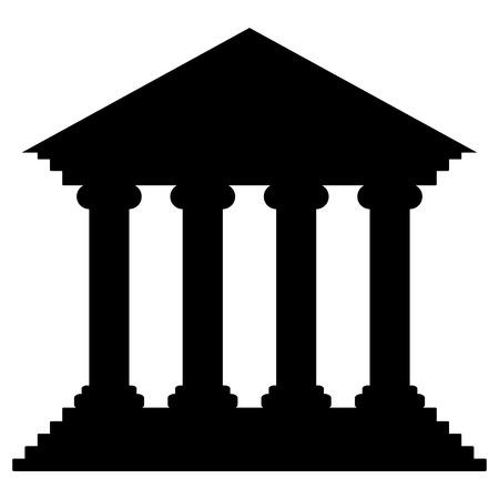 Bank icon on white background - vector illustration. Çizim
