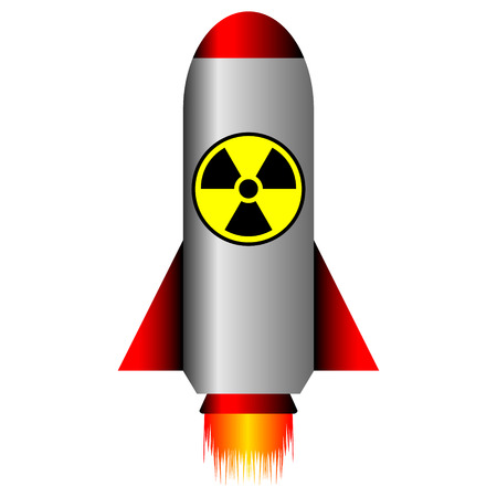 Fusée balistique nucléaire sur fond blanc - illustration vectorielle.