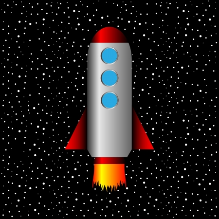 Space rocket on a background of stars - vector illustration. Stock Vector - 24442089