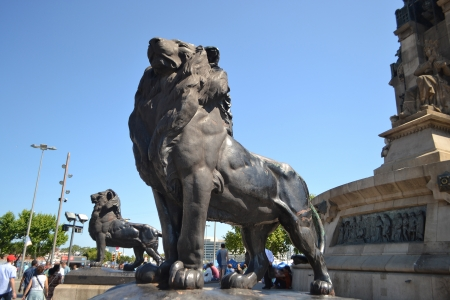 Statue of a lion, fragment of Columbus Column in Barcelona, Spain.