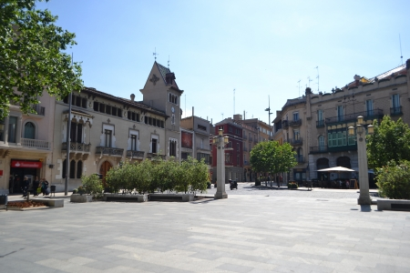 Street in the center of the Catalan town of Figueres, Spain. photo
