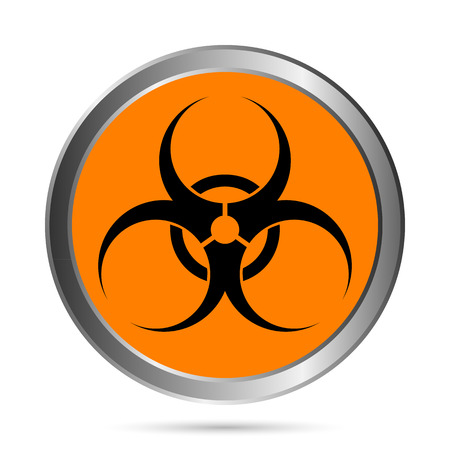 biologic: Biohazard orange circle icon on white background Illustration
