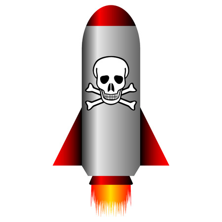 awfully: Missile with a chemical weapon on white - vector illustration.