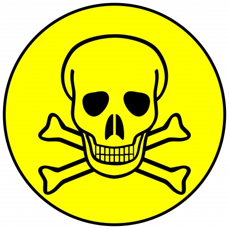 awfully: Deadly danger sign on white - vector illustration.