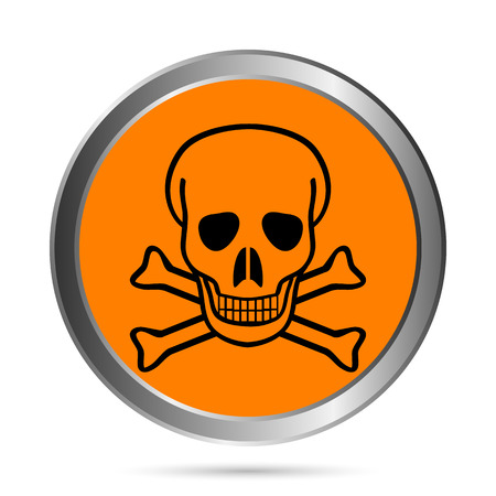 awfully: Deadly danger sign button on white - vector illustration. Illustration