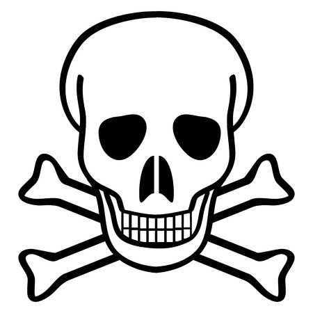 chemical weapons: Skull and crossbones on white background - vector illustration.