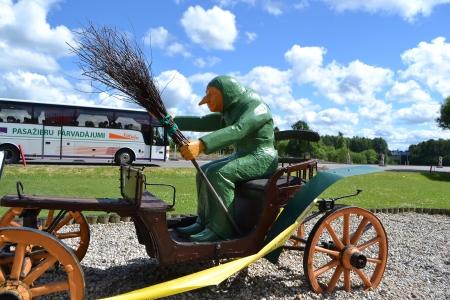 beldam: Ragana, Latvia - June 17, 2013  Statue of witch on a cart, Latvia