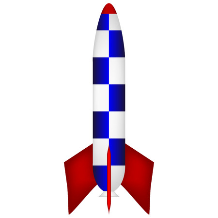 Vector illustration of a starting rocket on white background. Vector