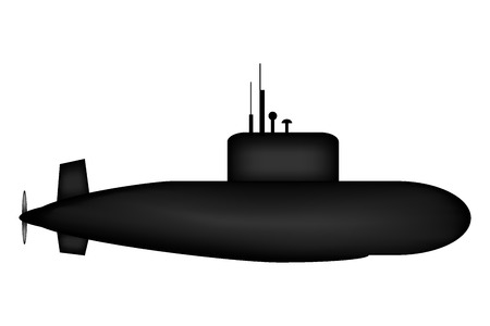 Military submarine on white background. Illustration