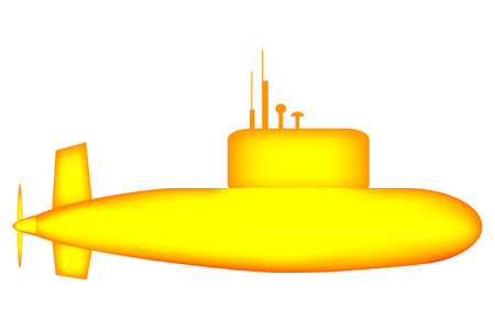 Yellow submarine on white background. Vector