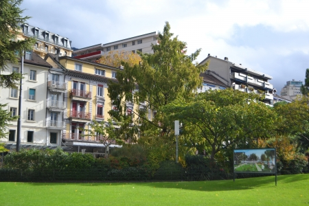 montreux: Buildings on the embankment of Montreux, Switzerland.