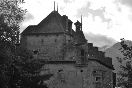 Chillon Castle near Montreux, Switzerland. Black and white.