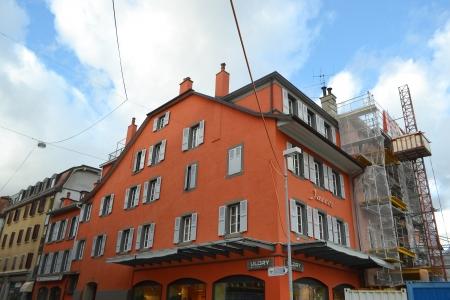 vevey: Vevey, Switzerland - November 6, 2013: Street in Vevey, Switzerland. Vevey is a small resort town on the Swiss Riviera. Editorial